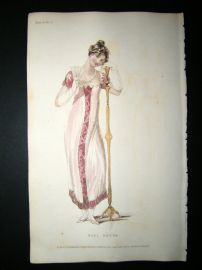 Ackermann 1810 Hand Col Regency Fashion Print. Ball Dress 4-4